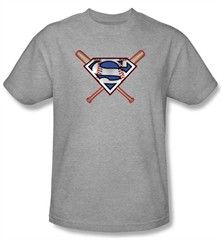 Superman T-shirt Crossed Baseball Bats Adult Athletic Heather Tee Shirt