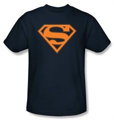 Superman Logo T-Shirt Navy and Orange Shield Adult Navy Blue Tee Shirt